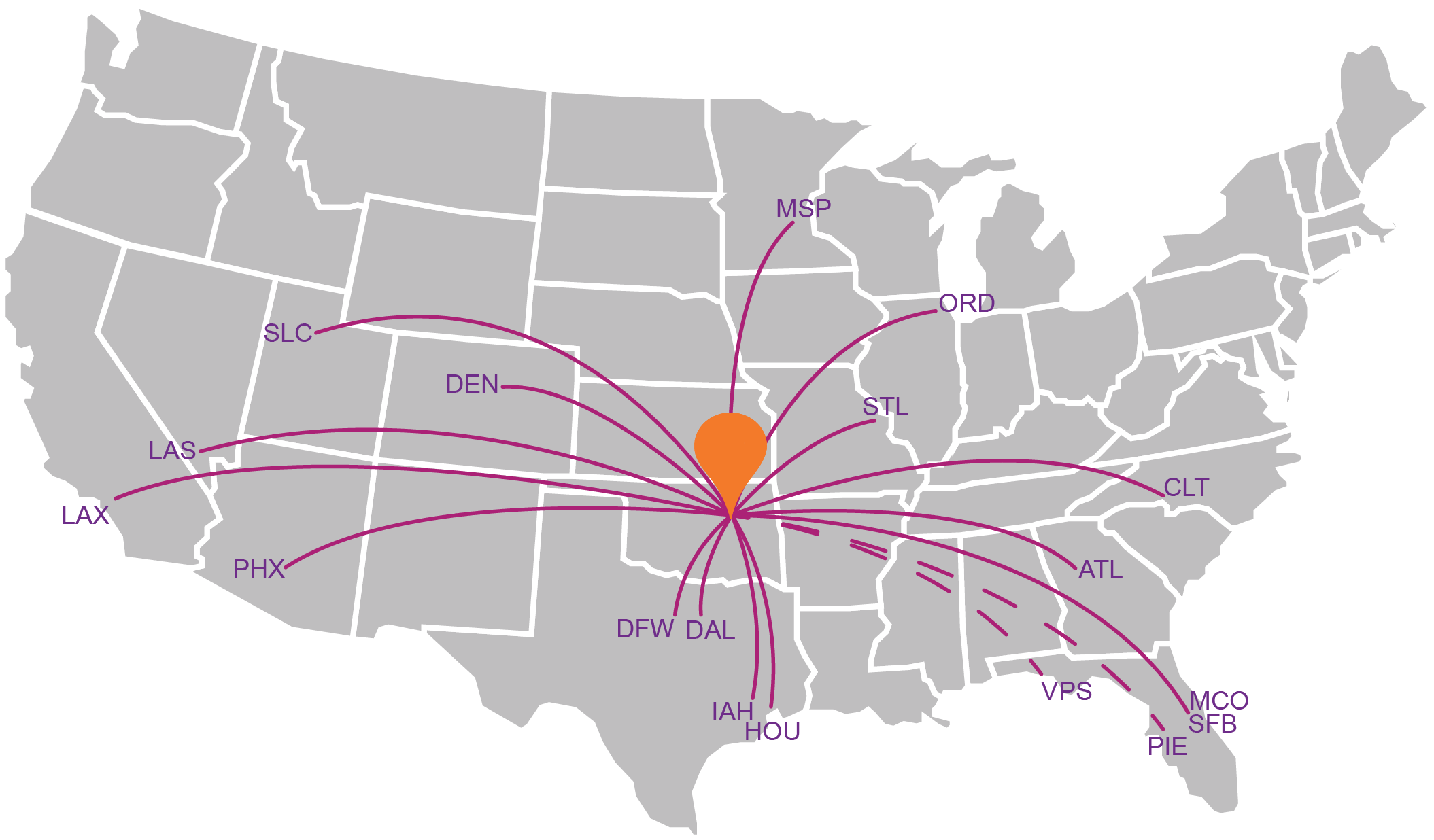 Nonstop Destinations Tulsa Airport - Us-airline-hubs-map